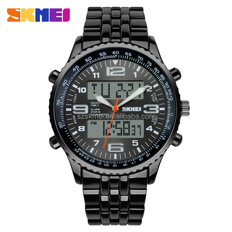 Luxury style Stainless Steel Back waterproof Black bracelet whatch