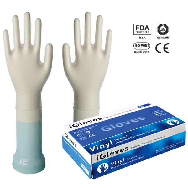 Clear and colored disposable vinyl gloves light weight vinyl gloves