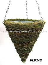 Mountain Rope and Moss Hanging Cone Basket