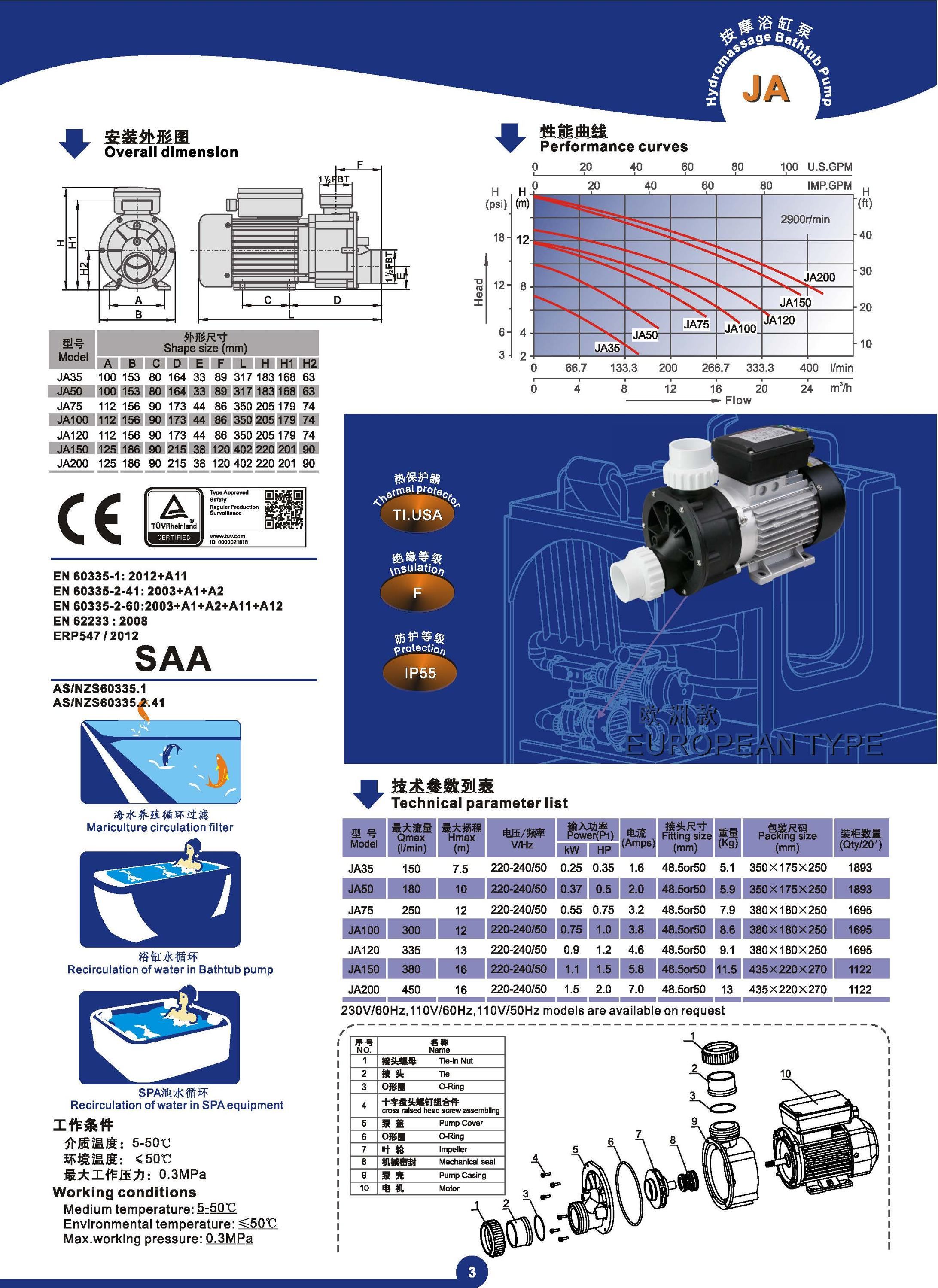 Thermal insulation protection circulation filter marine sea water pump