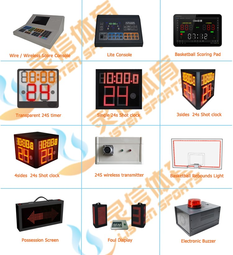 1/2/3/4 sides led digit 24s scoreboard for basketball and criket games