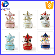 2017 Mini Wooden Toy Carousel Music Box Horse Ride Music Box