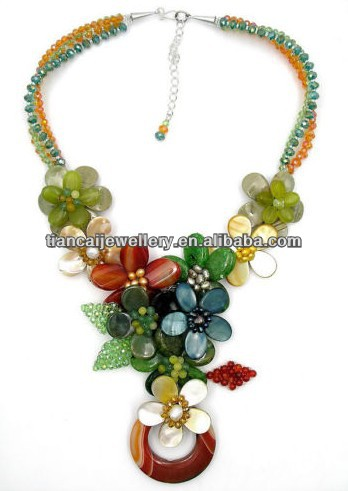 Agate Jade MOP Shell FW Pearl Crystal Glass Beads Wired Flower Bib Necklace