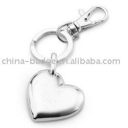personlized heart shaped silver key chain