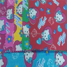 Custom print waterproof fabric for diaper baby urine pad/Gray cat printed 100% cotton flannel fabric