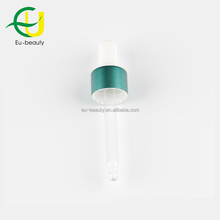 Fashion design 18/410 green aluminium glass dropper for essential oil bottles