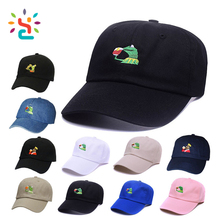 Custom UK US GB NO CA DE ES FR IN KERMIT logo dad caps hats dad hats with double stitching tape cap Wholesale