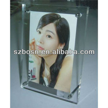 Elegant acrylic photo frame with metal leg;Acrylic picture frame;Acrylic photo display;