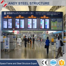 Prefabricated steel space frame airport constrution building