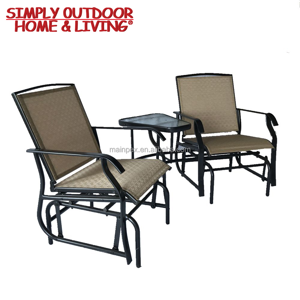 Modern Outdoor Furniture Garden Furniture Import Double Rocking Chair With Glass Top Table