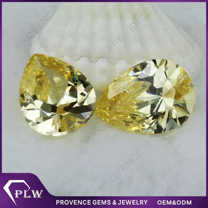 China 3*5mm to 8*10mm loose Pear shape Light Yellow Cubic Zircon CZ gemstone manufacturer