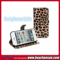 leopard pattern stand leather cover for iphone 5 5s leather case