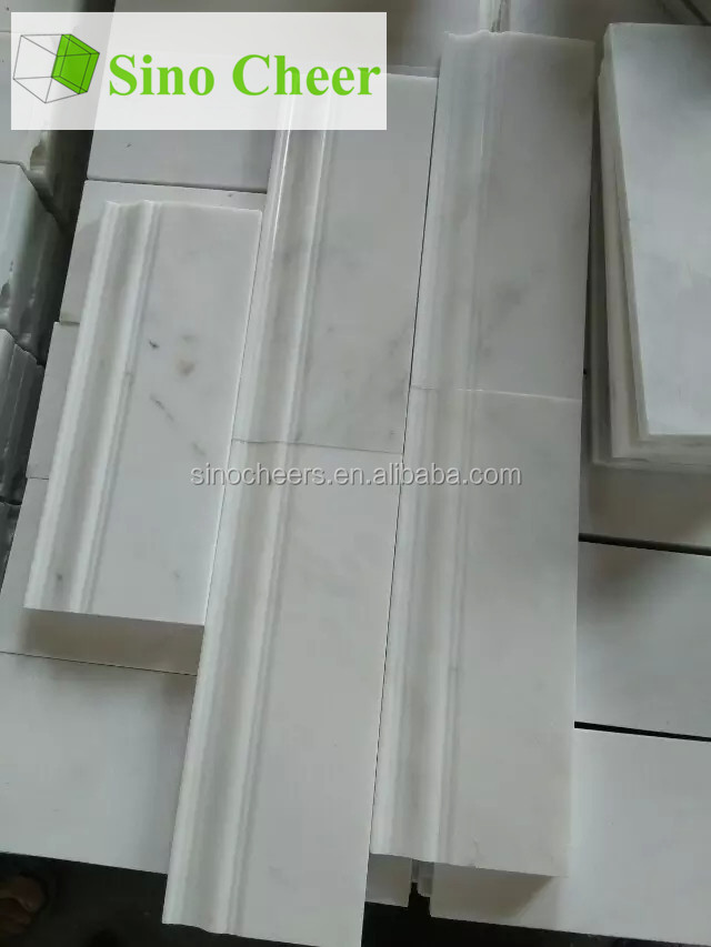 white carrara marble border line finished stone mouldings for construction decorations