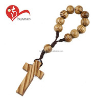 China manufacturer natural wooden beads religious finger ring rosary