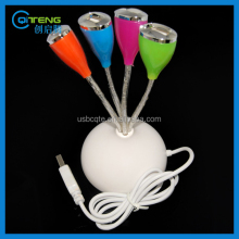 2015 new promo gifts Vase shpe 4 port usb hub in different colors with led light