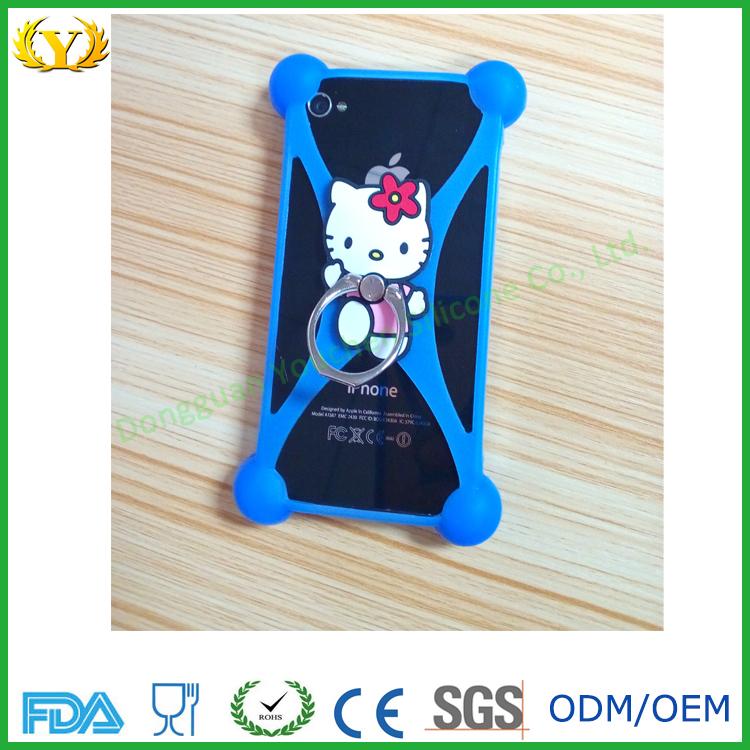 Best selling hello kitty shape soft silicone mobile phone case with finger ring