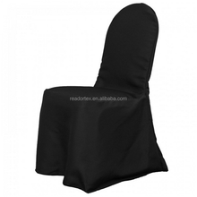 Black Polyester Banquet Chair Cover On Banquet Chair
