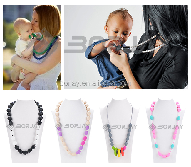 100% Food Grade Silicone Baby Teething Beads Necklaces For Mum