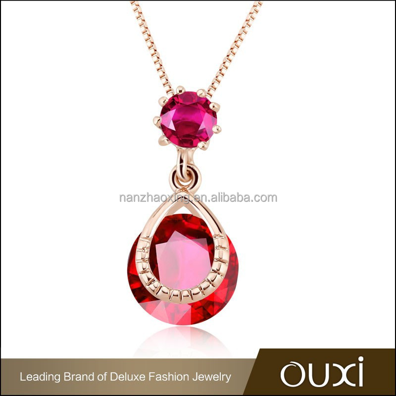 OUXI tiny initial design clear meaningful zircon necklace pendant