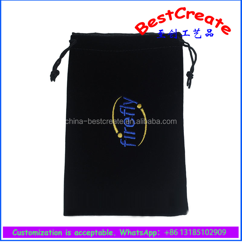 High quality black velvet tobacco pouch bags with embroidery logo