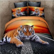 Home textile 100% cotton tiger 3D printed duvet cover bedding set