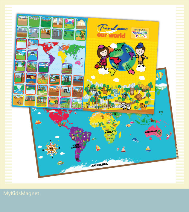 E1010 wholesales top quality for baby and parent at home magnetic learning world map puzzle resources