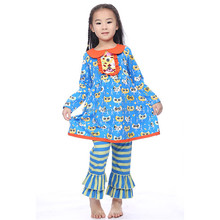 comfortable printed skirt and pants blue owl stripe boutique outfits kids clothing wholesale