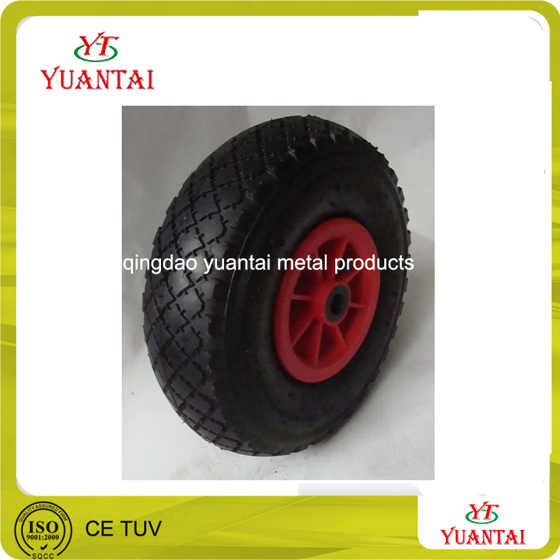 wheel barrow, garden tool cart, beach cart use air wheel cart wheel PU foam flat free pneumatic solid rubber caster wheel