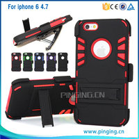 New Arrival 3 in 1 PC + Silicone Belt Clip Mobile Phone Combo Holster Cases For iphone 6S