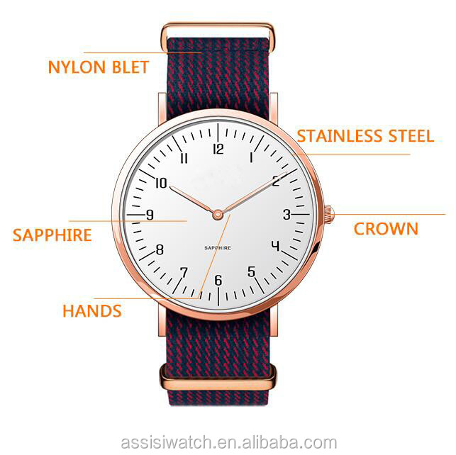 Assisi classic ultra-thin nylon strap colourful unisex watch