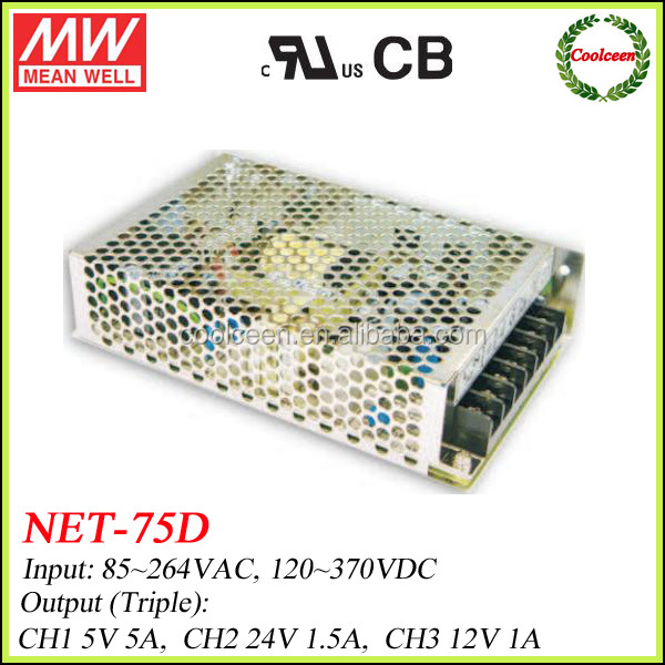 Meanwell 75W Triple Output NET-75D Enclosed Switching Power Supply