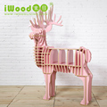European style furniture dreamy pink deer wooden shelf for living room