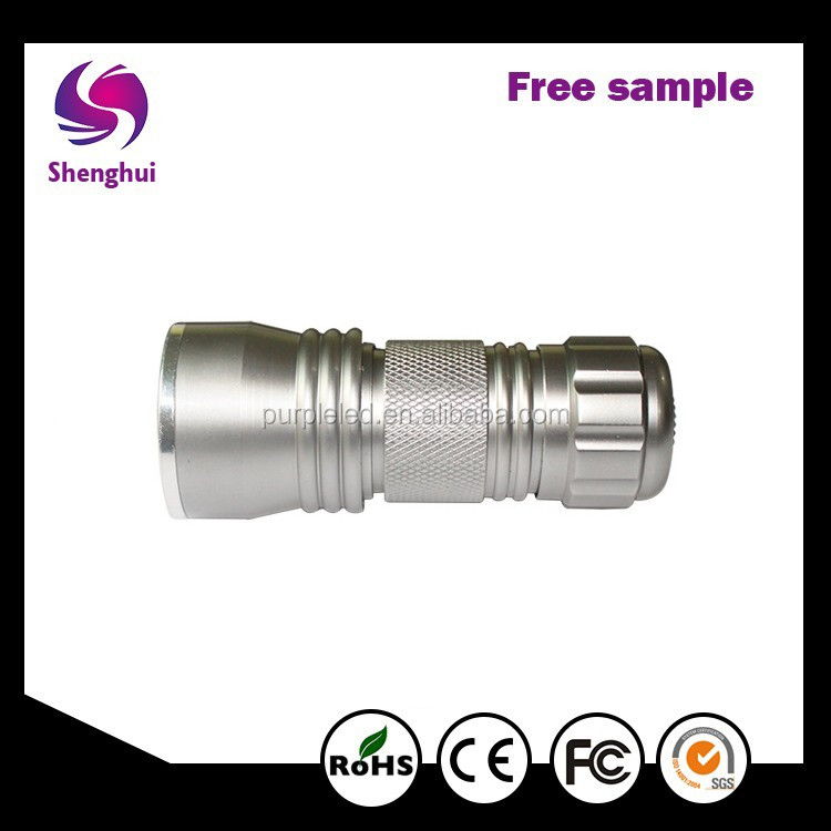 shenhui Free sample CE Aluminum MONEY checking UV black silver Torch 21 leds 365nm uv led flashlight