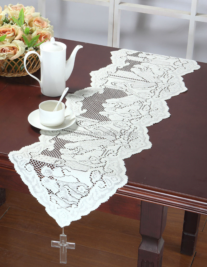 33x114cm Lace Solid table runners tassels and cross angles