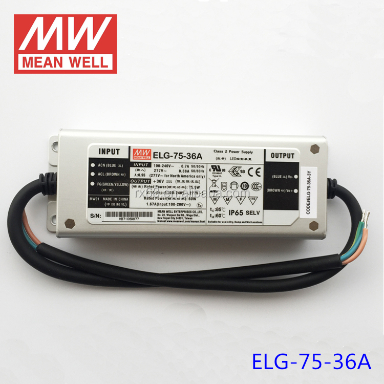 Meanwell 75W 36V ip65 waterproof led driver with PFC function ELG-75-36A