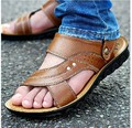 new fashion summer men leather slippers and sandals genuine leather beach sandals sport sandal shoes for men
