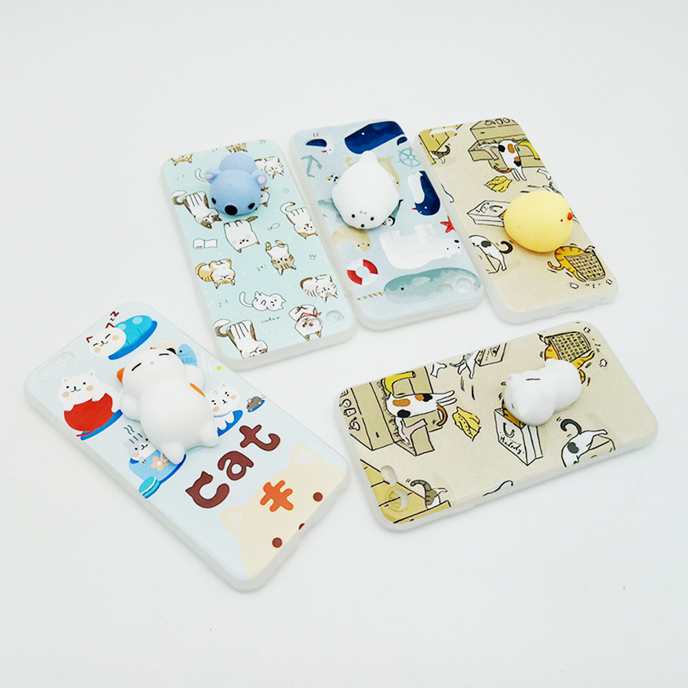 2017 Soft Silicone Back Cover Cute TPU squishy cat 3d cartoon phone case for iphone