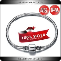 Thai Silver 3mm Hard Snake Chain Bracelet For Wholesale Silver Charm Bracelet with Barrel Clasp