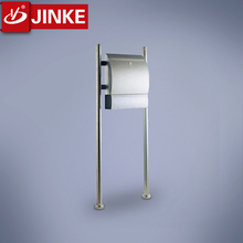Post Office Lockable Letter Mail Box Standing Steel with Newspaper Holder
