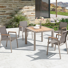 Outdoor Teak Wood Top Dining Table Sets Metal Dining Table and 4 Chairs (DH-838TT1)