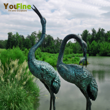 Garden Decoration Metal Bronze Bird Crane Statue