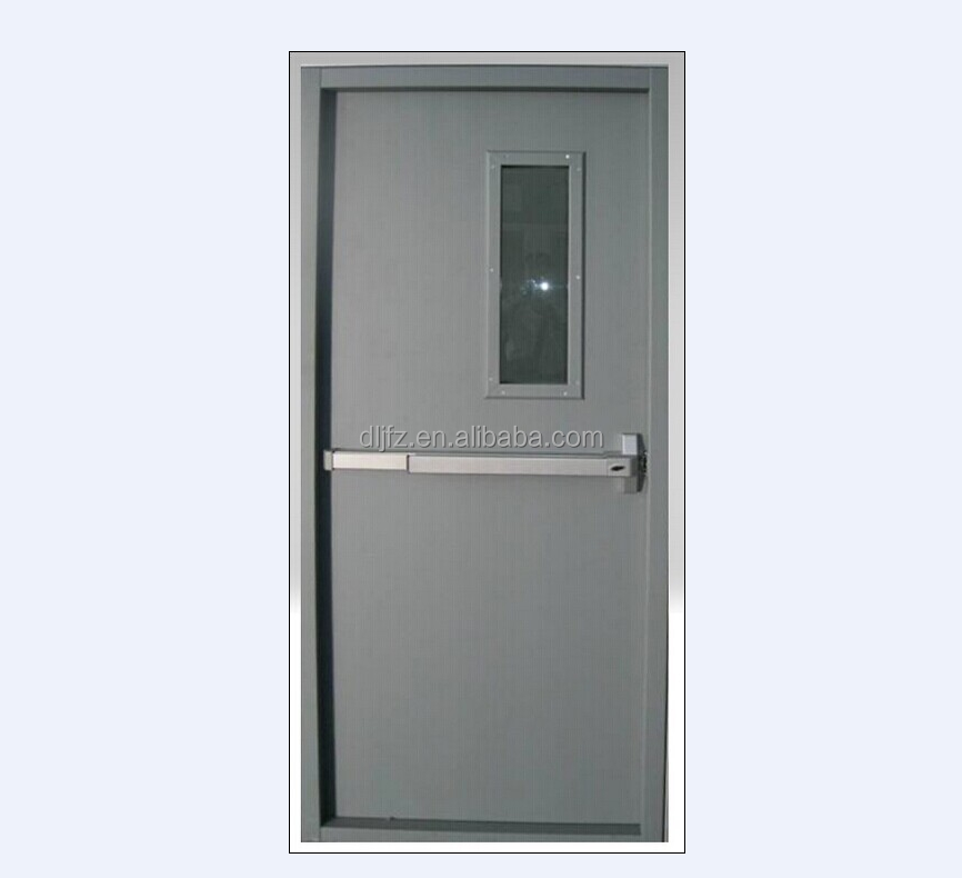 UL WH listed fire proof steel hollow metal door with glass vision