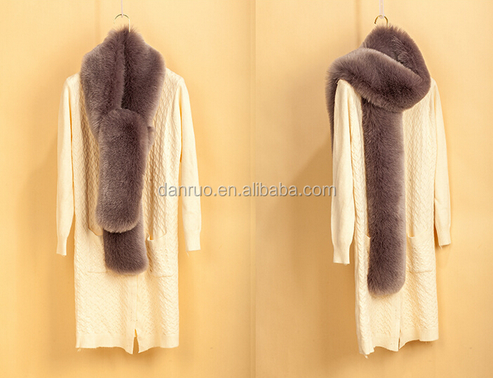 Winter pure faux fur scarf female artificial fox fur scraf wholesale manufacturers extended warm scarf