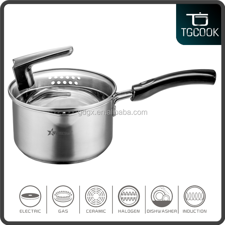 Stainless Steel Professional Chef cooking Sauce pan with glass lid