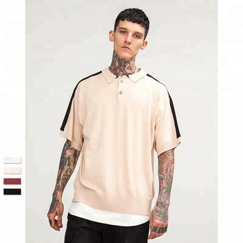 Men turn down collar solid blank oversized half sleeve high street polo shirt