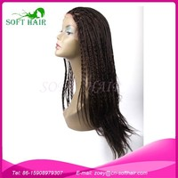 New fashion popular style qingdao soft hair products natural brazilian 100% virgin human hair lace front box braid wig