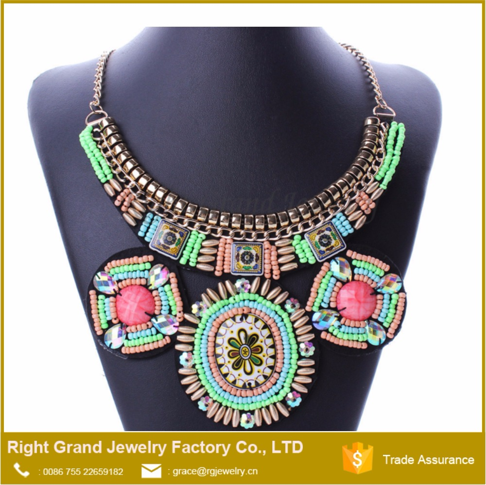 2016 New Fashion Fabric Latest Handmade Beads Necklace Designs Bohemia Statement Necklace Jewelry