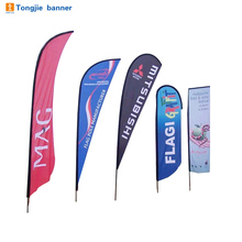 Durable outdoor advertising beach flag pole teardrop banner