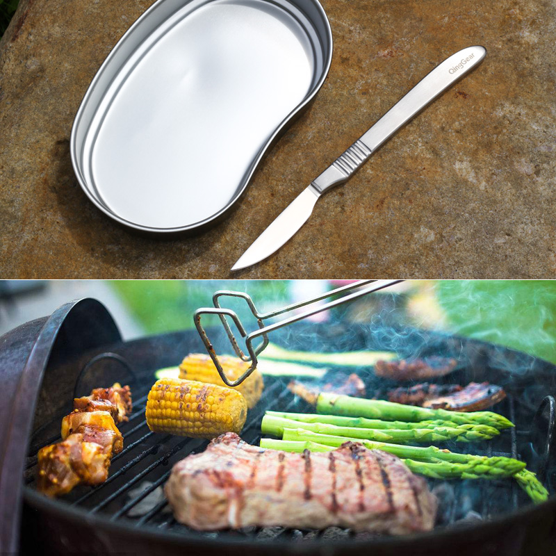 QingGear Stylish Steak Knife Surgeon's Blade Razor Sharp Secure Grip Cutlery Dinner Knife Camping BBQ Meat Cleaver Kydex Sheath