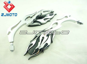 Motorcycle Universal Black Chrome Flame Mirror motorcycle side mirrors For sale